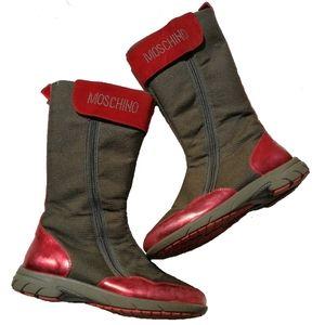 MOSCHINO Red & Khaki Leather Shiny Velcro Boots